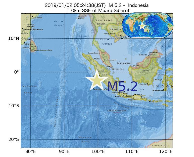 2019年01月02日 05時24分 - インドネシアでM5.2