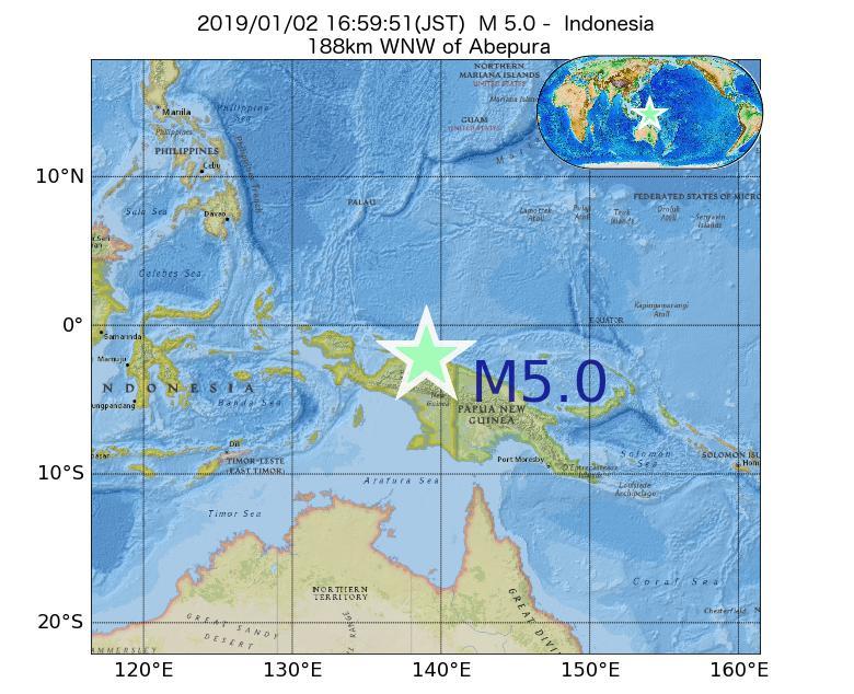 2019年01月02日 16時59分 - インドネシアでM5.0