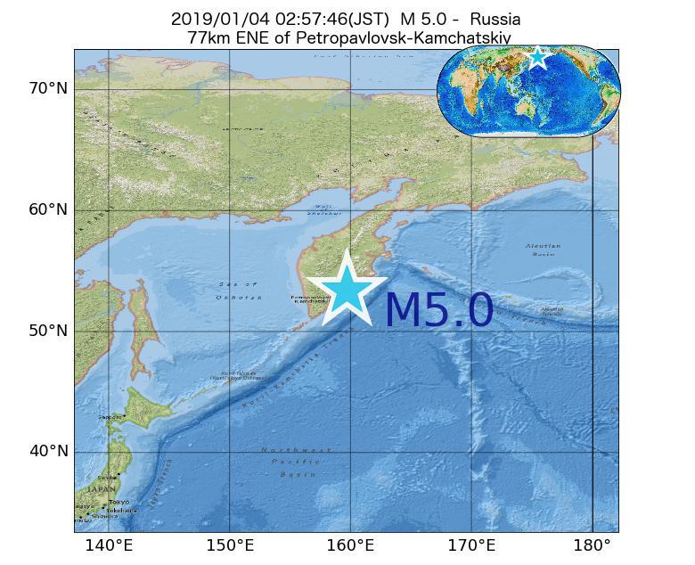 2019年01月04日 02時57分 - ロシアでM5.0