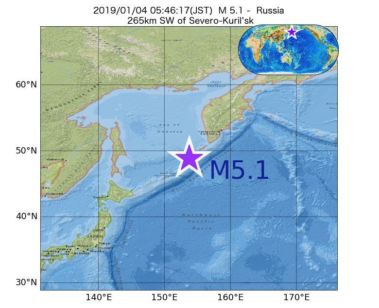2019年01月04日 05時46分 - ロシアでM5.1
