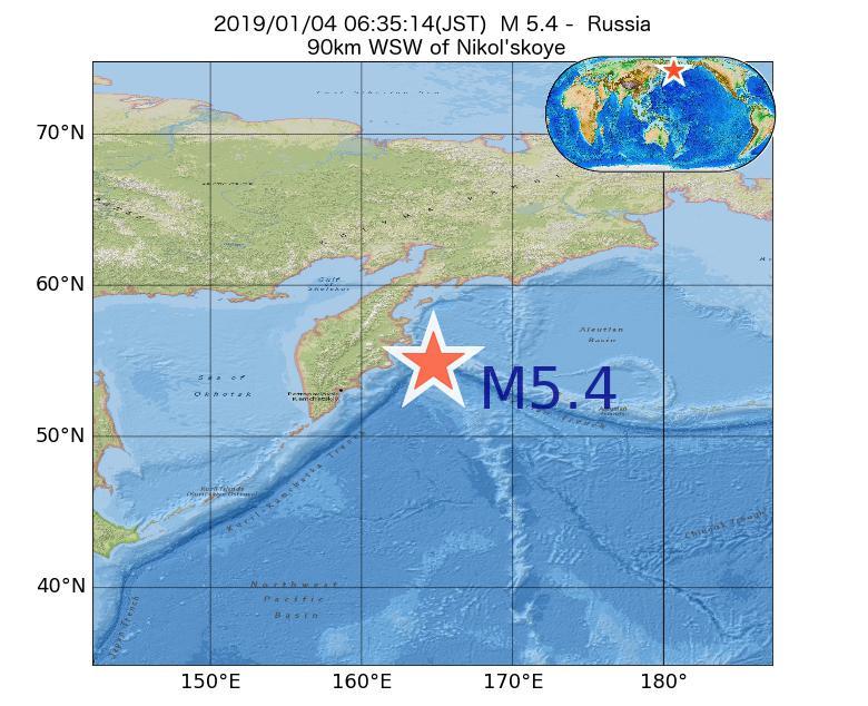 2019年01月04日 06時35分 - ロシアでM5.4