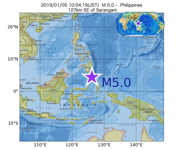 2019年01月05日 10時04分 - フィリピンでM5.0