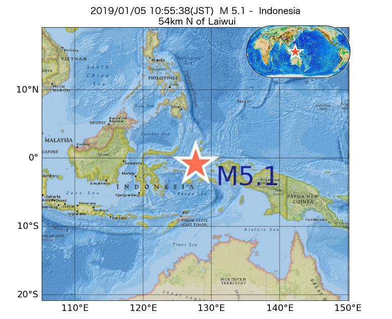2019年01月05日 10時55分 - インドネシアでM5.1