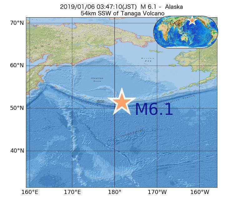 2019年01月06日 03時47分 - アラスカ州でM6.1
