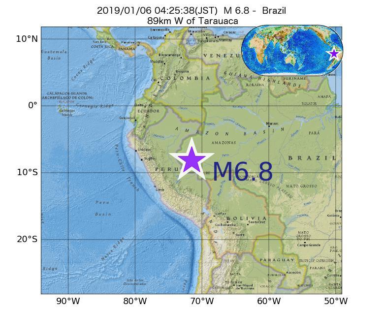 2019年01月06日 04時25分 - ブラジルでM6.8