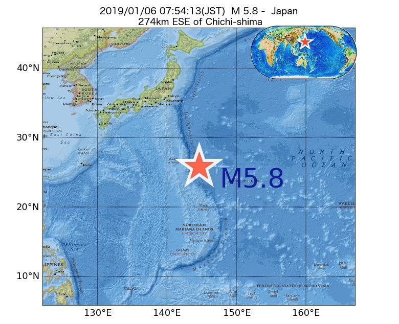 2019年01月06日 07時54分 - 日本でM5.8