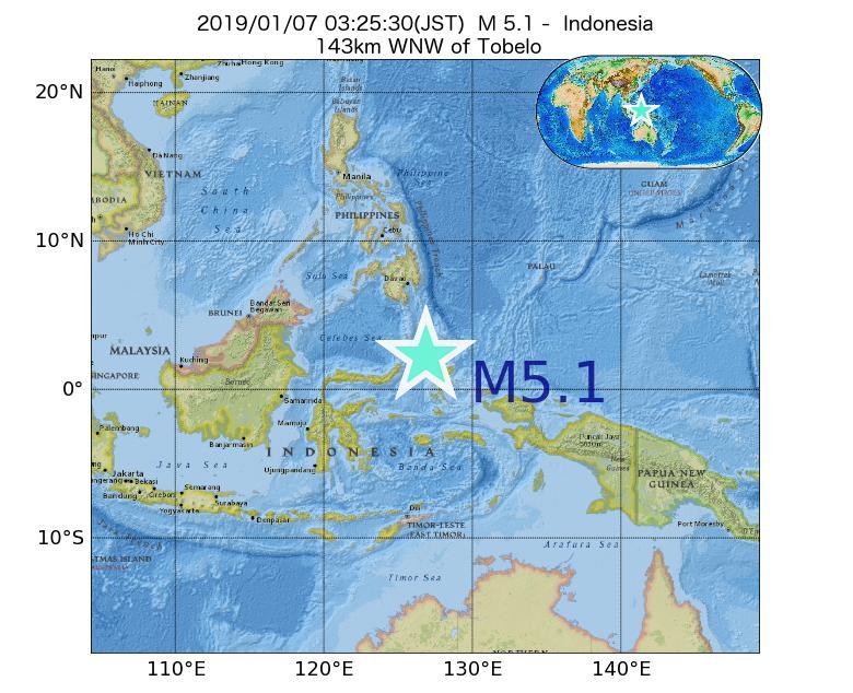 2019年01月07日 03時25分 - インドネシアでM5.1