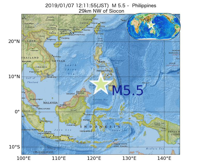 2019年01月07日 12時11分 - フィリピンでM5.5