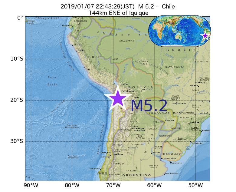 2019年01月07日 22時43分 - チリでM5.2