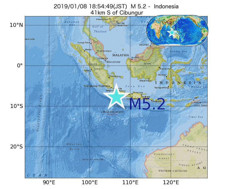 2019年01月08日 18時54分 - インドネシアでM5.2