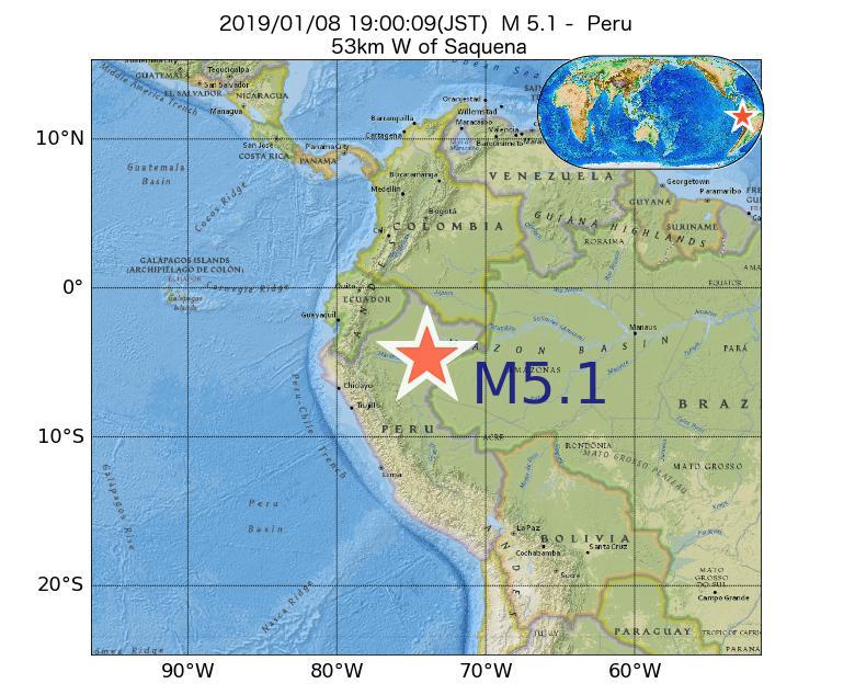 2019年01月08日 19時00分 - ペルーでM5.1