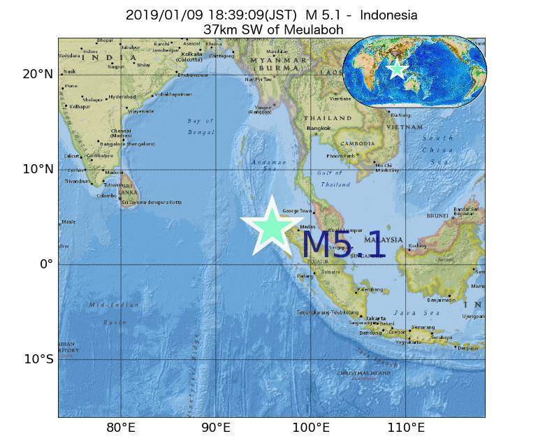2019年01月09日 18時39分 - インドネシアでM5.1
