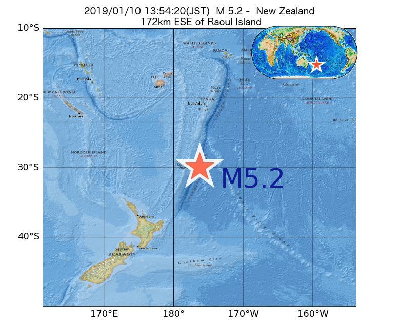 2019年01月10日 13時54分 - ニュージーランドでM5.2