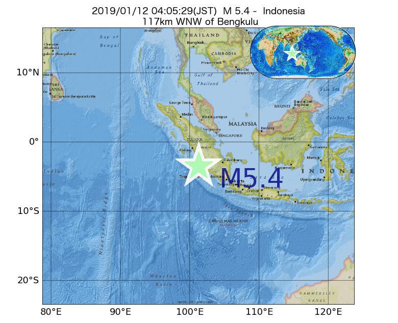 2019年01月12日 04時05分 - インドネシアでM5.4