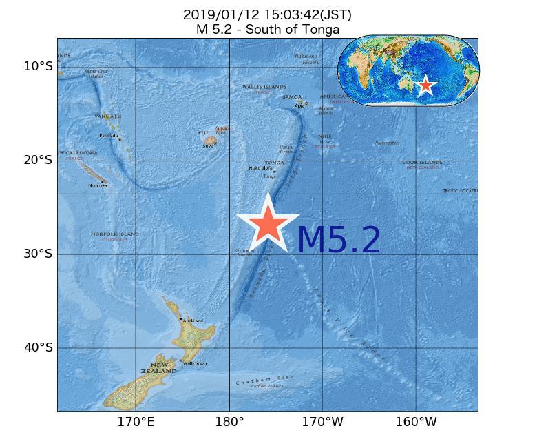2019年01月12日 15時03分 - トンガの南でM5.2