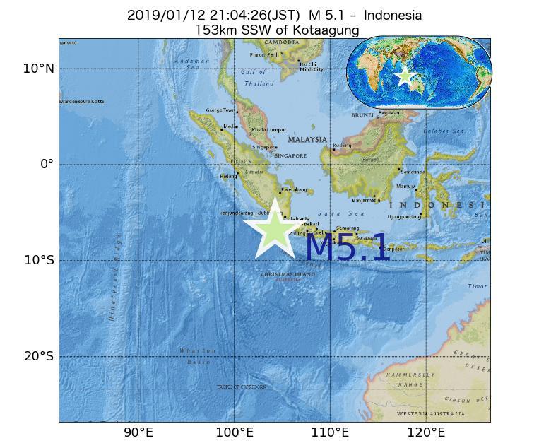 2019年01月12日 21時04分 - インドネシアでM5.1