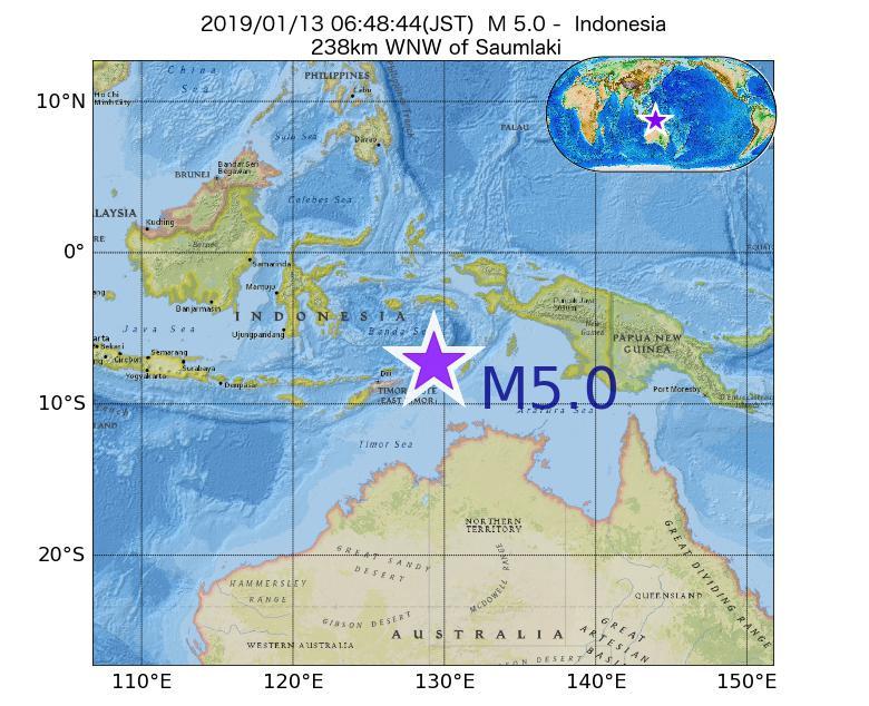 2019年01月13日 06時48分 - インドネシアでM5.0