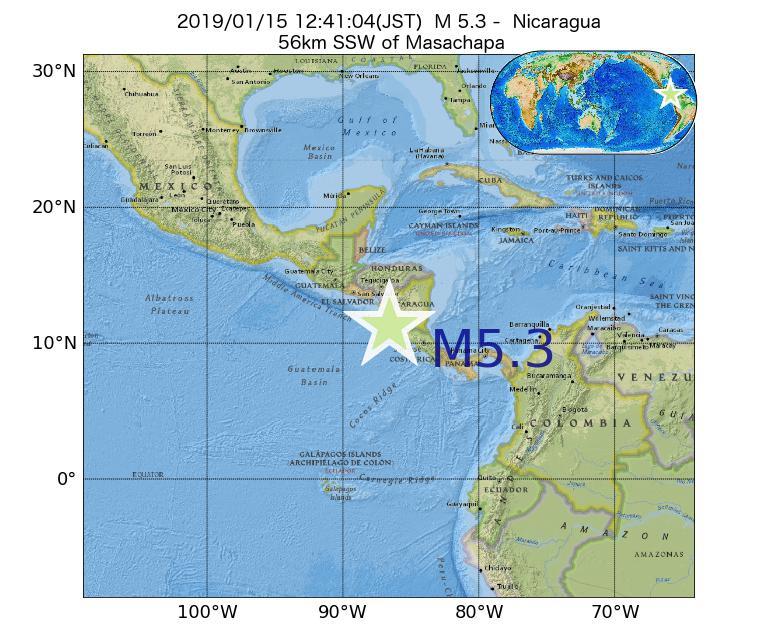2019年01月15日 12時41分 - ニカラグアでM5.3
