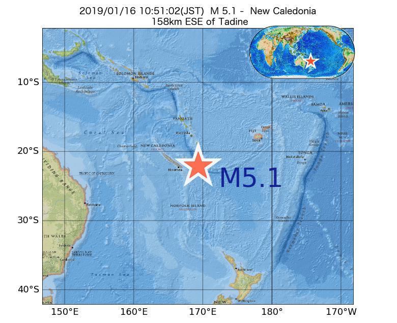 2019年01月16日 10時51分 - ニューカレドニアでM5.1