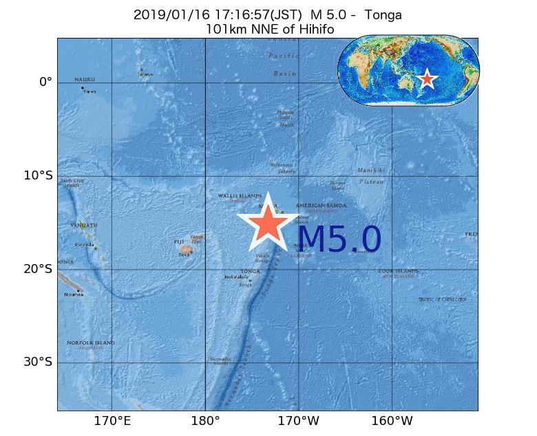 2019年01月16日 17時16分 - トンガでM5.0