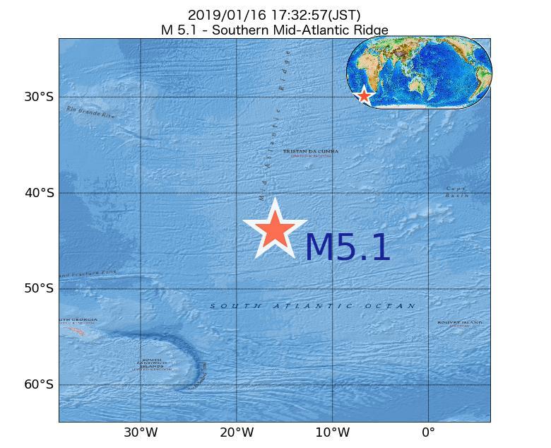 2019年01月16日 17時32分 - 大西洋中央海嶺でM5.1