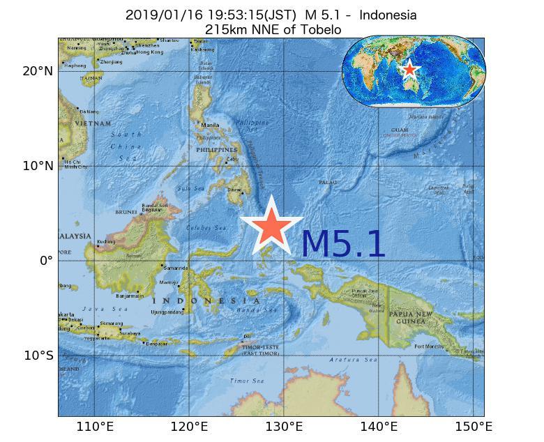 2019年01月16日 19時53分 - インドネシアでM5.1
