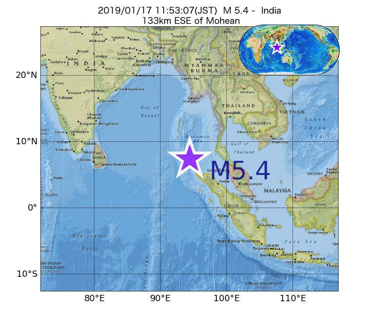 2019年01月17日 11時53分 - インドでM5.4