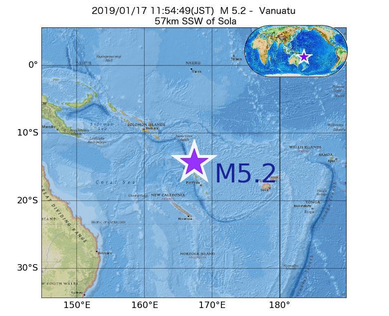 2019年01月17日 11時54分 - バヌアツ付近でM5.2