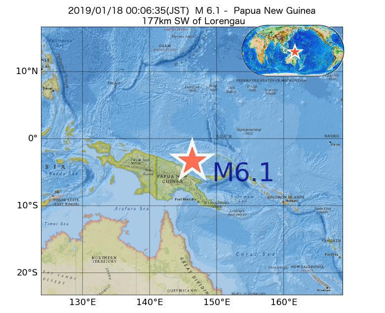2019年01月18日 00時06分 - パプアニューギニアでM6.1