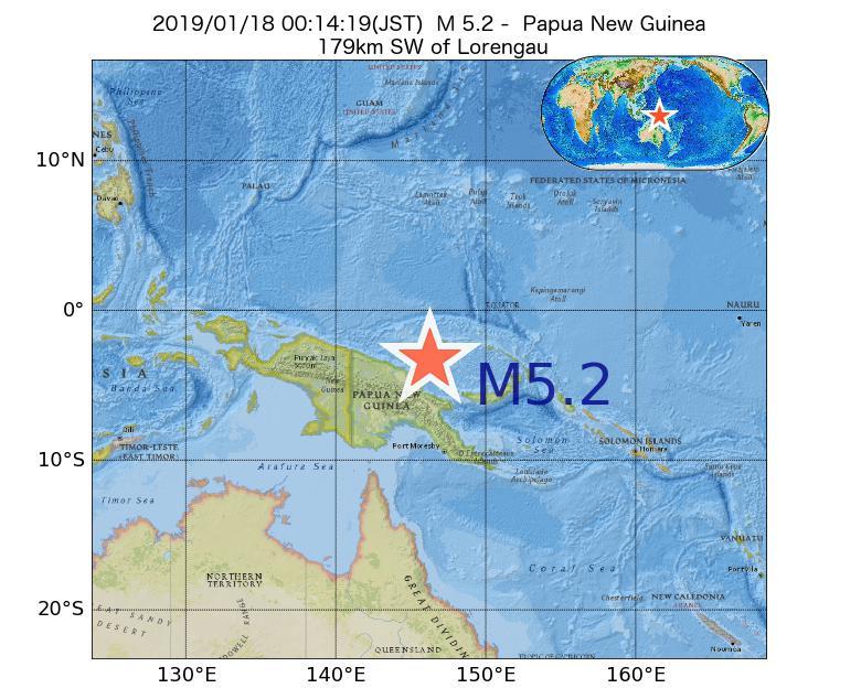 2019年01月18日 00時14分 - パプアニューギニアでM5.2