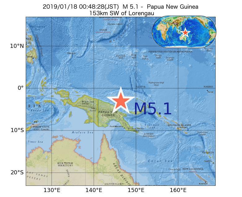2019年01月18日 00時48分 - パプアニューギニアでM5.1