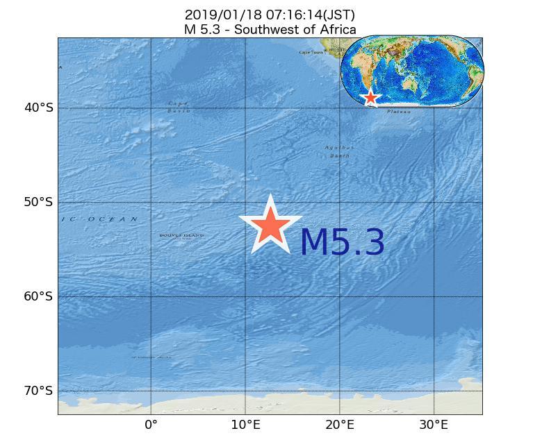 2019年01月18日 07時16分 - アフリカの南西でM5.3