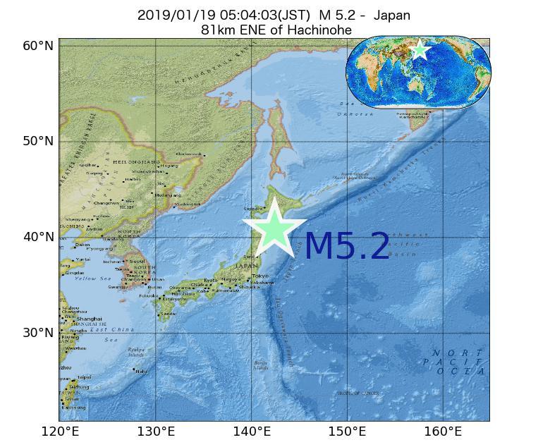 2019年01月19日 05時04分 - 日本でM5.2