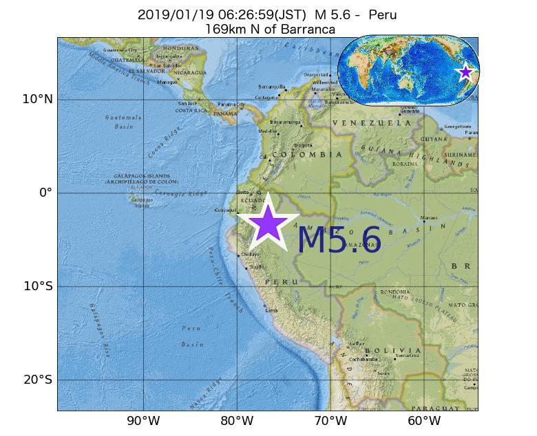 2019年01月19日 06時26分 - ペルーでM5.6