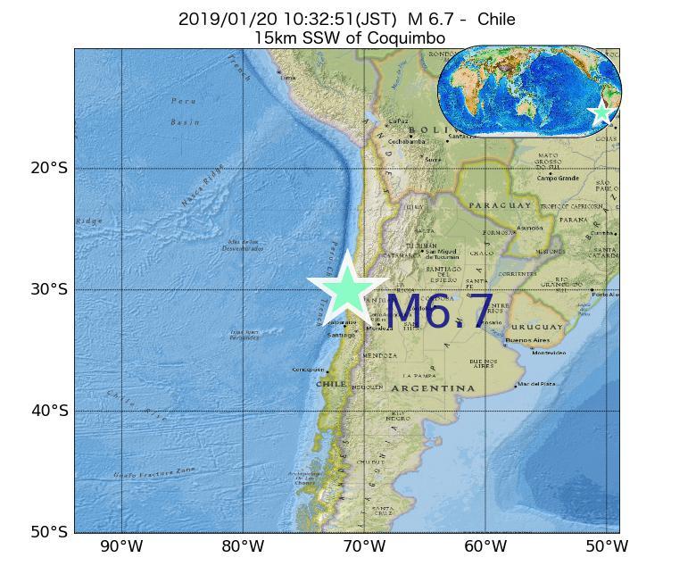 2019年01月20日 10時32分 - チリでM6.7