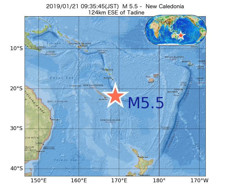 2019年01月21日 09時35分 - ニューカレドニアでM5.5