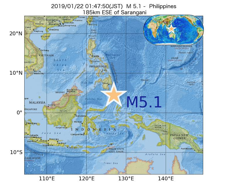 2019年01月22日 01時47分 - フィリピンでM5.1
