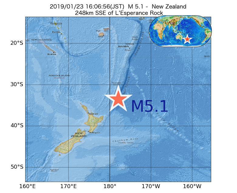 2019年01月23日 16時06分 - ニュージーランドでM5.1