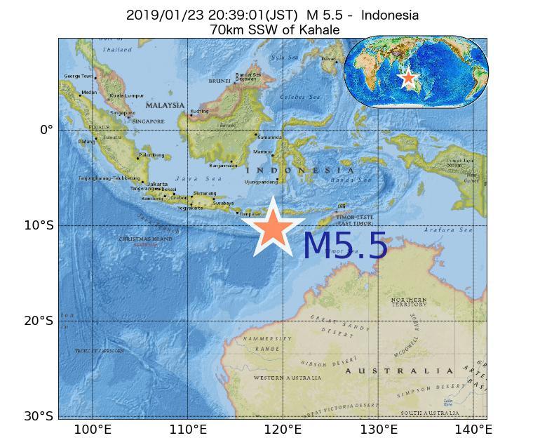2019年01月23日 20時39分 - インドネシアでM5.5