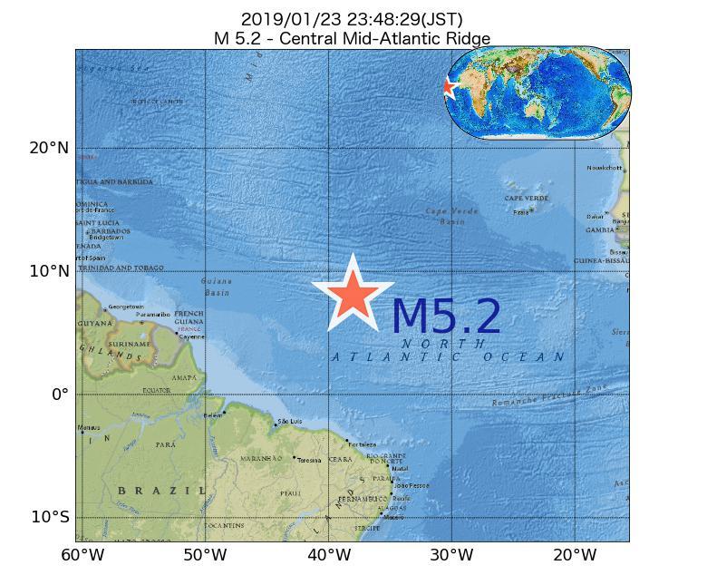 2019年01月23日 23時48分 - 大西洋中央海嶺でM5.2