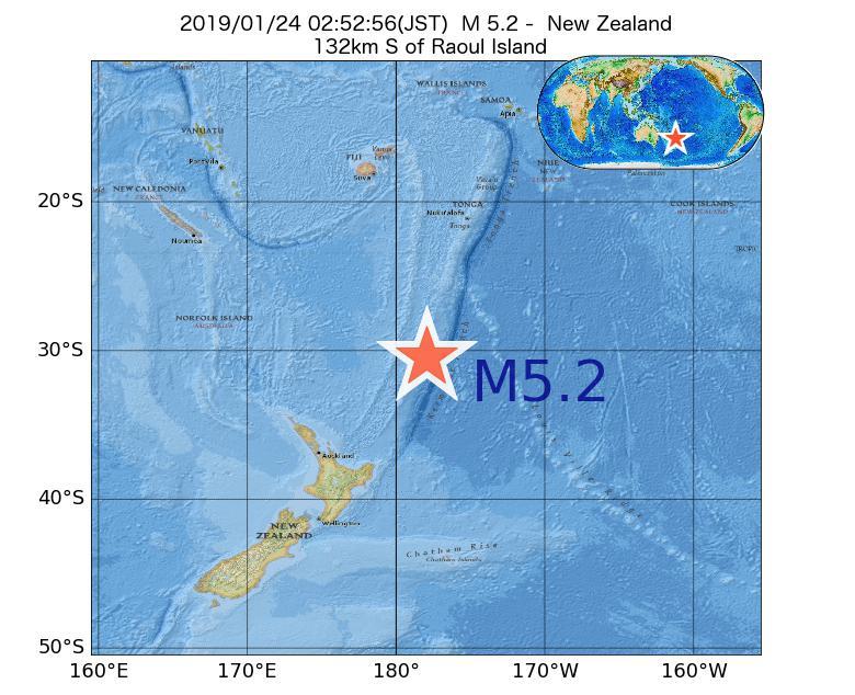 2019年01月24日 02時52分 - ニュージーランドでM5.2