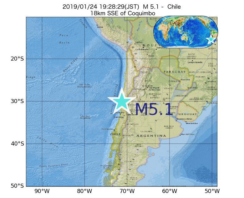 2019年01月24日 19時28分 - チリでM5.1