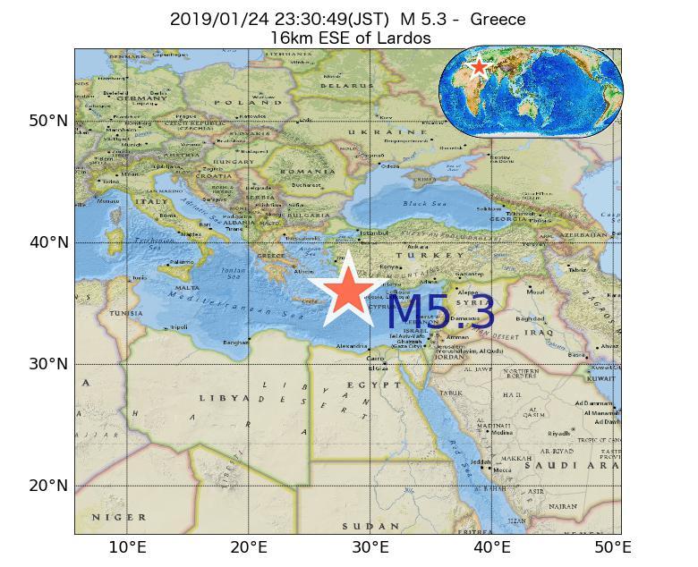 2019年01月24日 23時30分 - ギリシャでM5.3