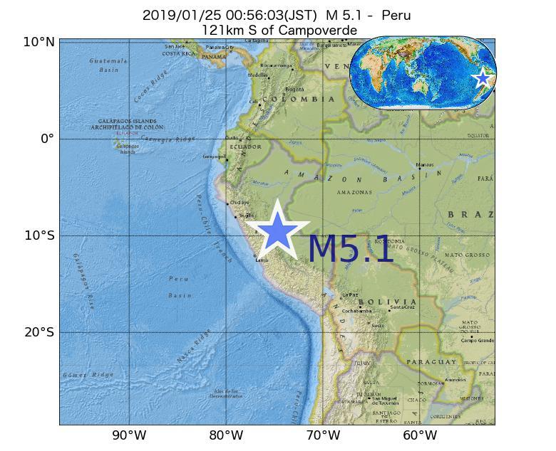2019年01月25日 00時56分 - ペルーでM5.1