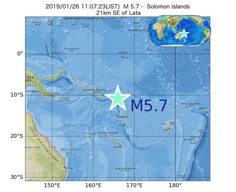 2019年01月26日 11時07分 - ソロモン諸島でM5.7