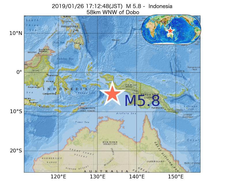 2019年01月26日 17時12分 - インドネシアでM5.8