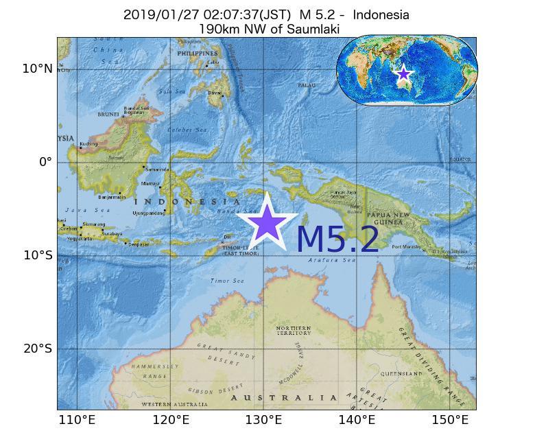 2019年01月27日 02時07分 - インドネシアでM5.2