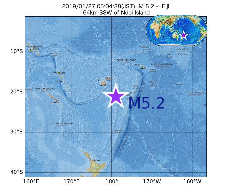 2019年01月27日 05時04分 - フィジーでM5.2