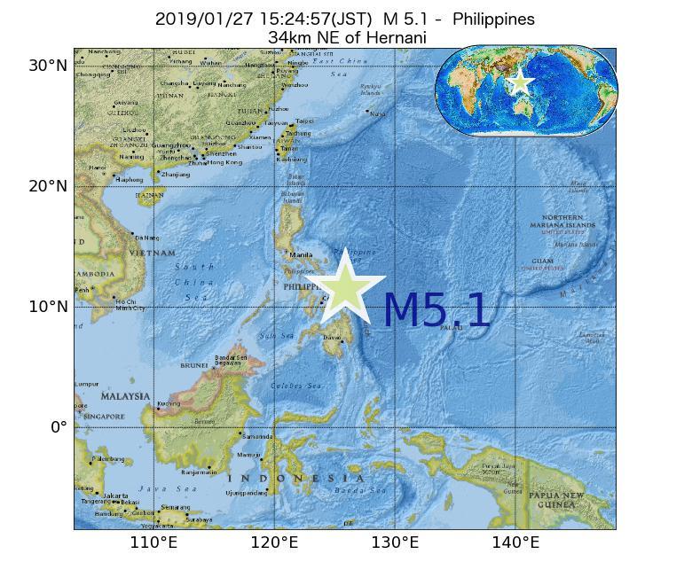 2019年01月27日 15時24分 - フィリピンでM5.1