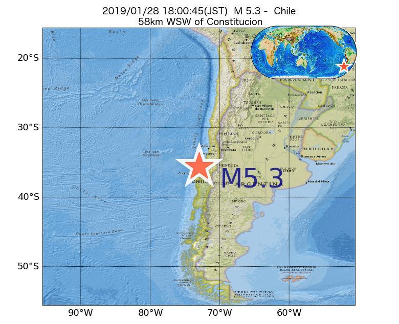 2019年01月28日 18時00分 - チリでM5.3